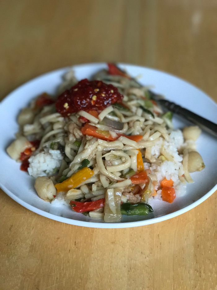 Homemade fried rice and Chinese noodles. DELISH.