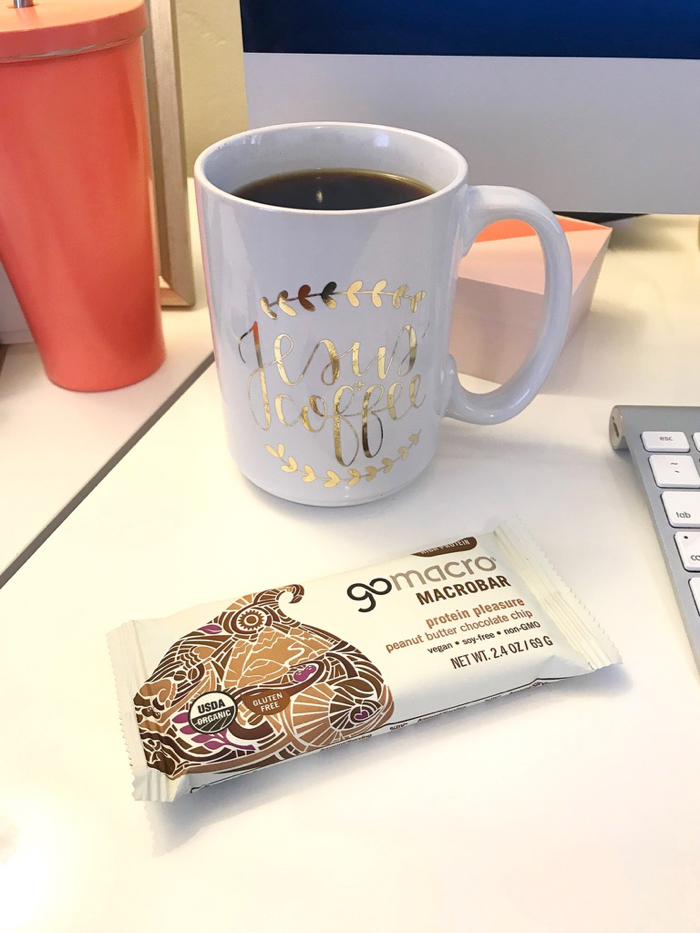 A GoMacro bar and Coffee to tide me over through my first morning meeting with Ana from The She Approach.