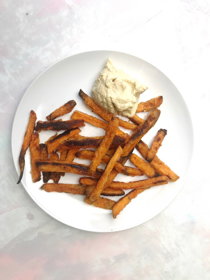 Savory Sweet Potato Fries with Hummus