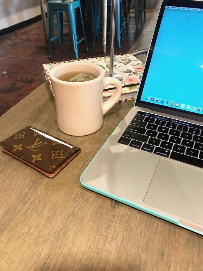 Coffee Shop Work Break with Peppermint tea