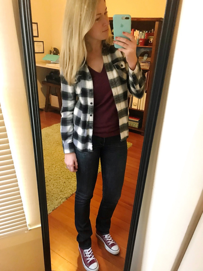 Classic Flannel layered with a Tee, Jeans, and Converse