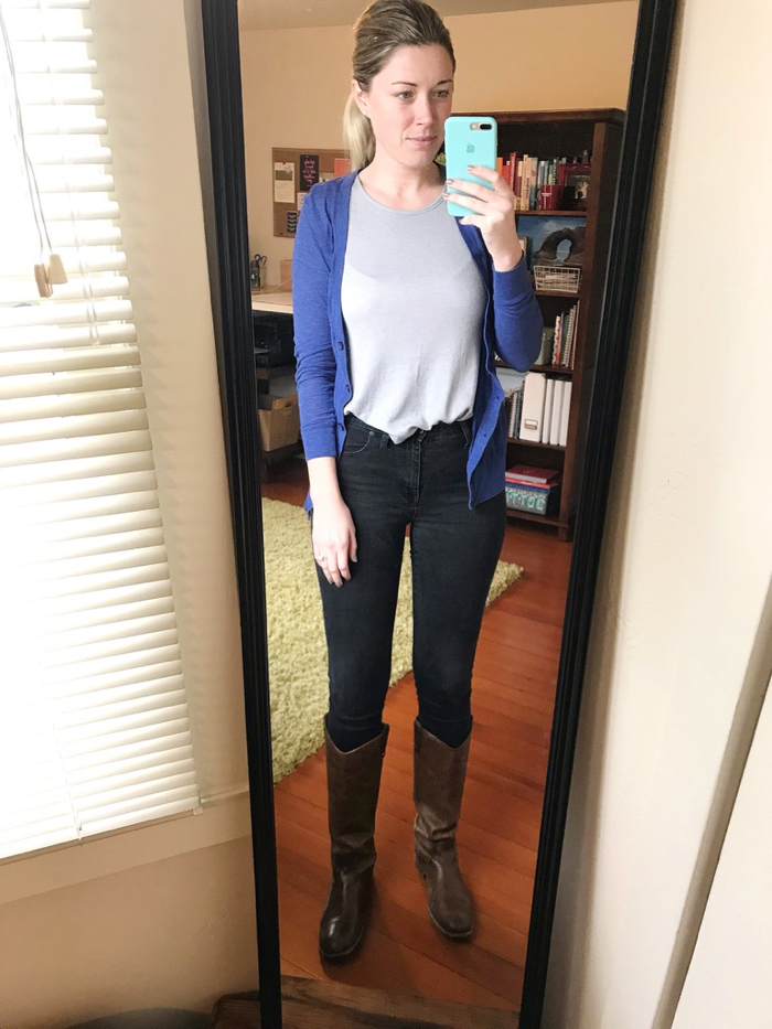 Before running errands with Marco and walking to Starbucks, I managed to get dressed in real clothes, in the same thing I wore Sunday (it was clean, so why not!). Leftover outfits #reallife.