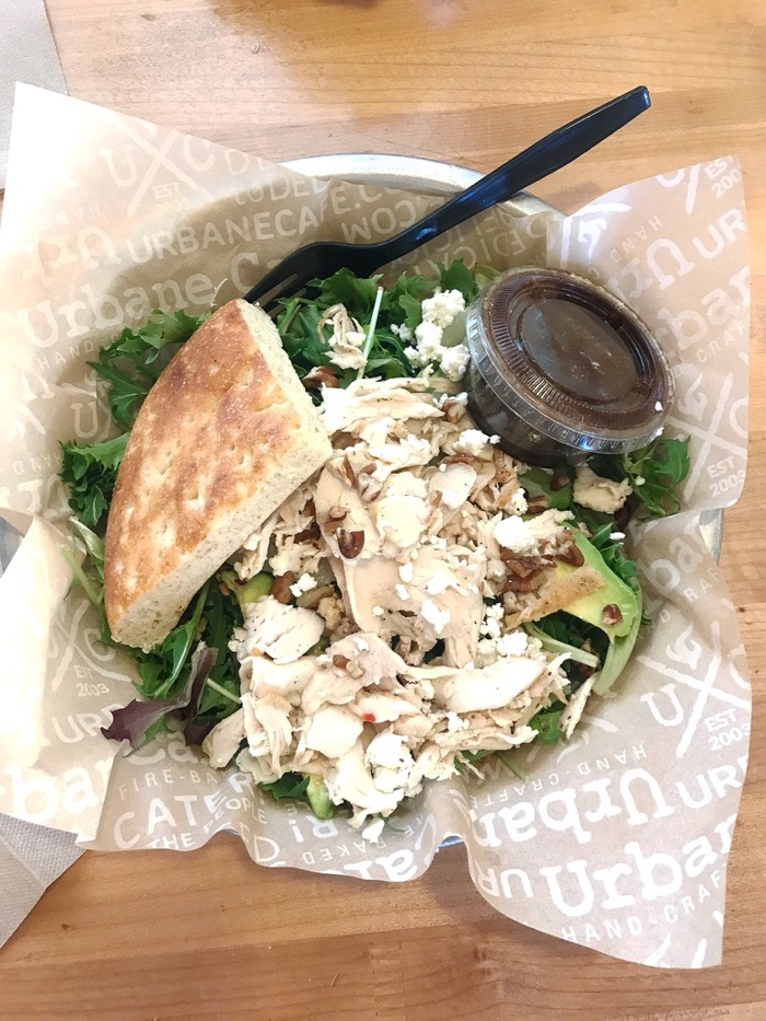 We walked to Urbane Cafe and ordered a SoCal chicken sandwich for him, Cafe salad for me. In the salad: spring mix, chicken, avocado, pears, goat cheese, pecans and balsamic dressing (bread on the side).