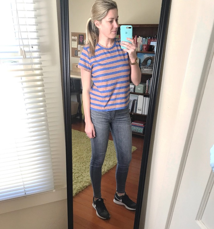 Still going strong putting on real clothes! Super casually - threw my hair up and my Nike's on. Comfort wins on Friday's always. Does anyone have amost tiredday of the week?