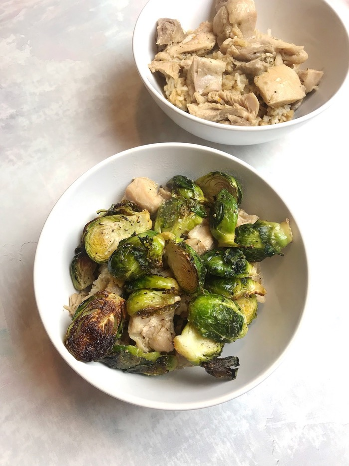 Simple and Savory Dinner. Brown Rice with Sautéed Garlic Chicken, and Roasted Brussel Sprouts. Yummm.