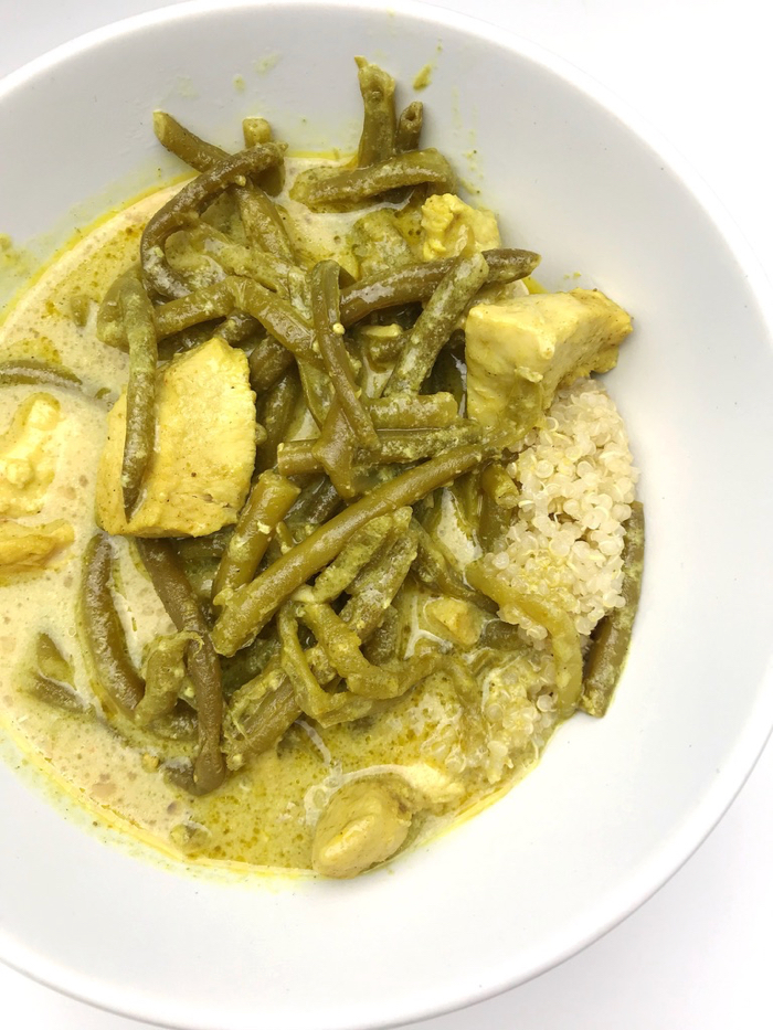 Chicken curry with A LOT of green beans with quinoa (yum!).
