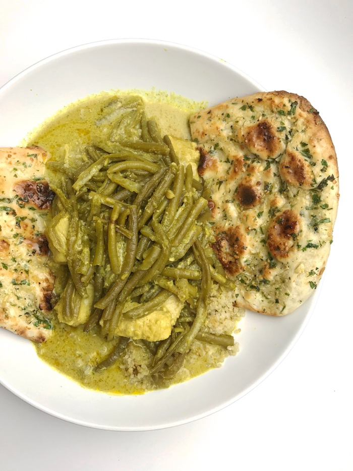 Chicken curry with A LOT of green beans (huge fan, hi!), quinoa, and garlic naan bread for dinner. Mmm, so good!