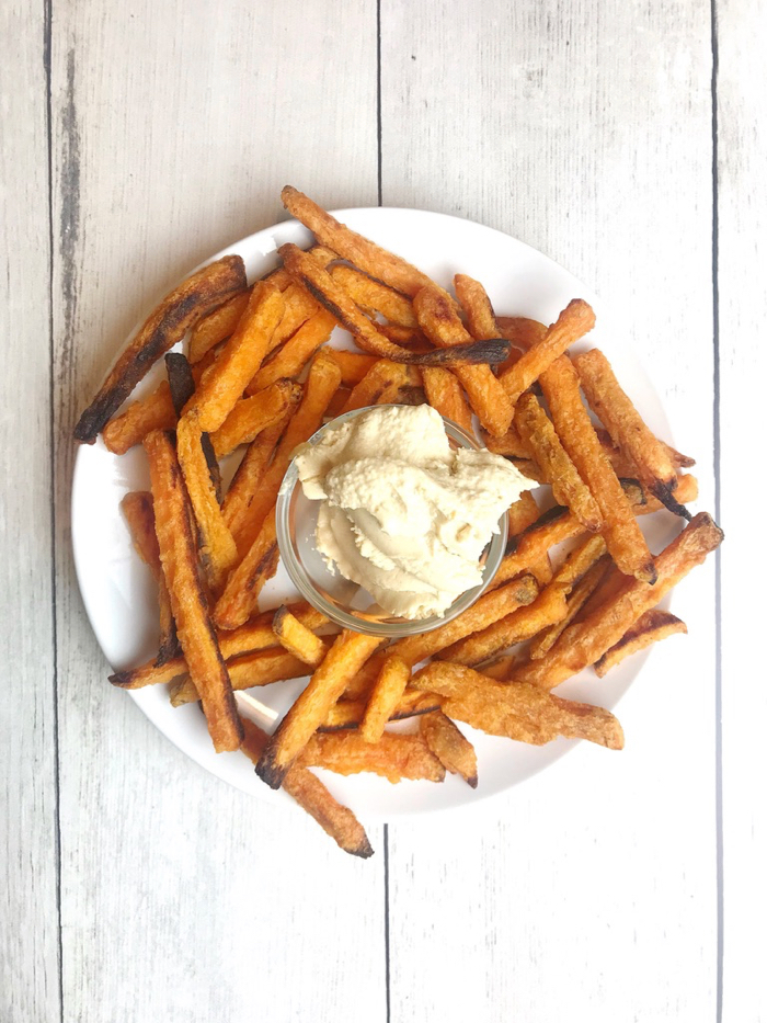 Roasted Sweet Potato Fries with Hummus