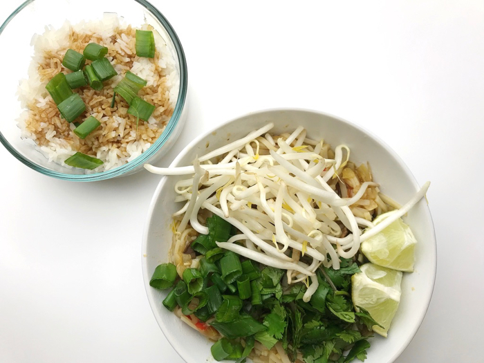 Rice Noodles and Chopped Veggie Toppings Pho and Rice with Tamari