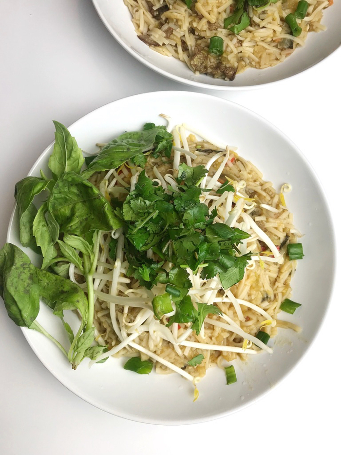 Pho Topped with Bean Sprouts, Basil, Cilantro, and Green Onions