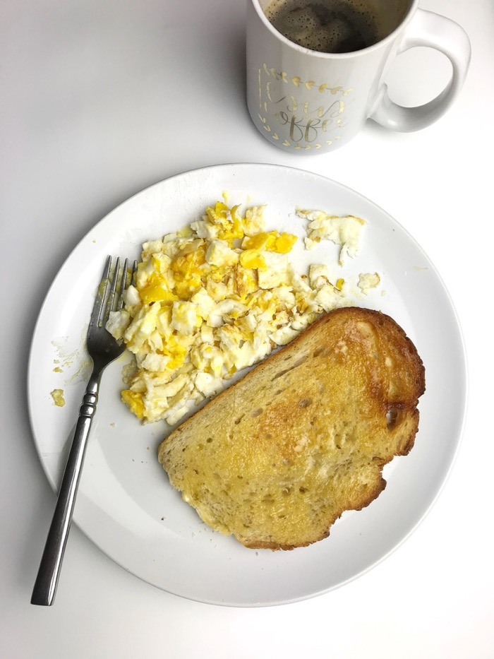 Eggs and toast for breakfast before heading for a walk around SLO and to the gym.