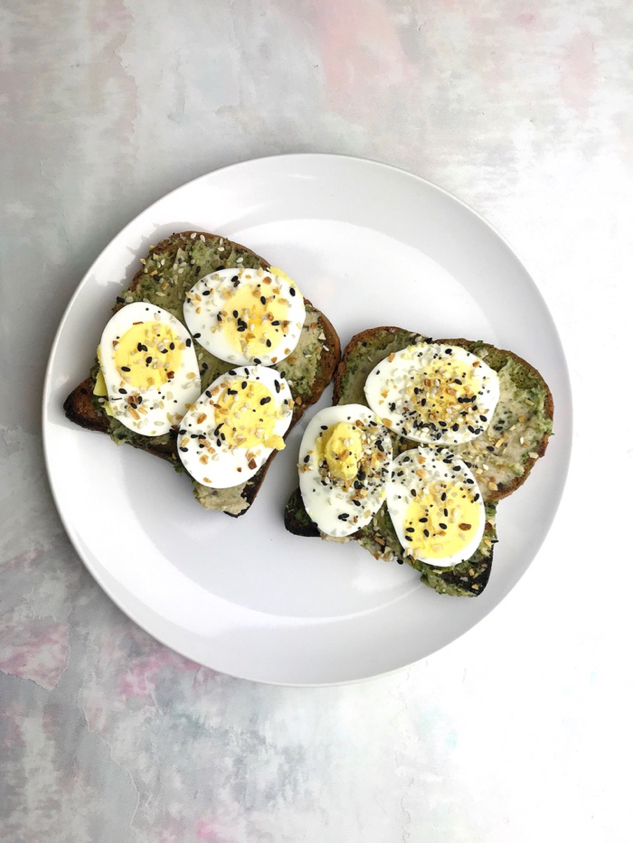 Brown Rice Toast, Cashew Pesto, Hummus, and Sliced Boiled Egg. It's been my go-to all week!
