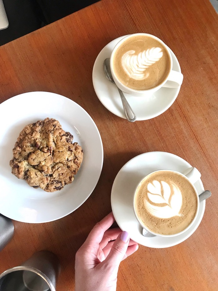 Cappuccinos with a cookie on the side to share. Scout Coffee in SLO has their cookie recipe down!