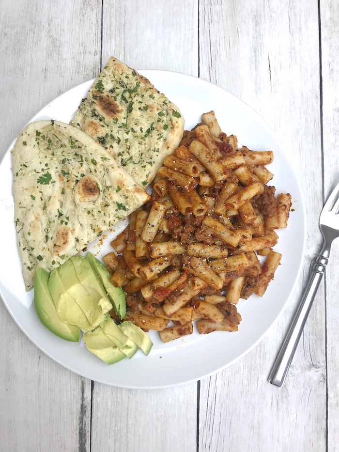 Brown Rice Pasta with Garlic Naan Bread and Avocado