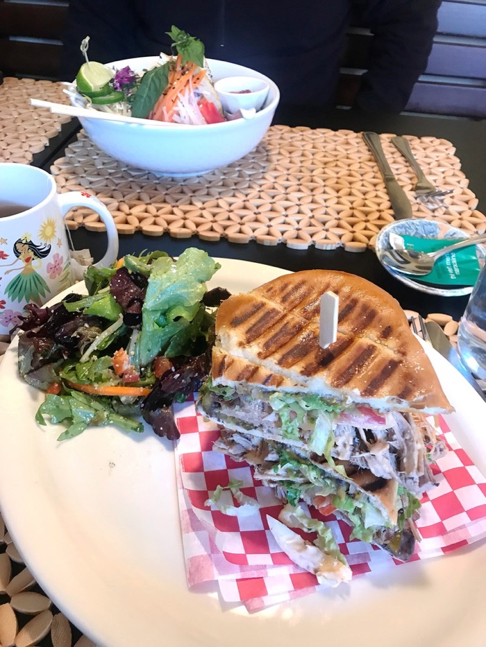 Pork Torta Sandwich, Side Salad, and a Mint Tea