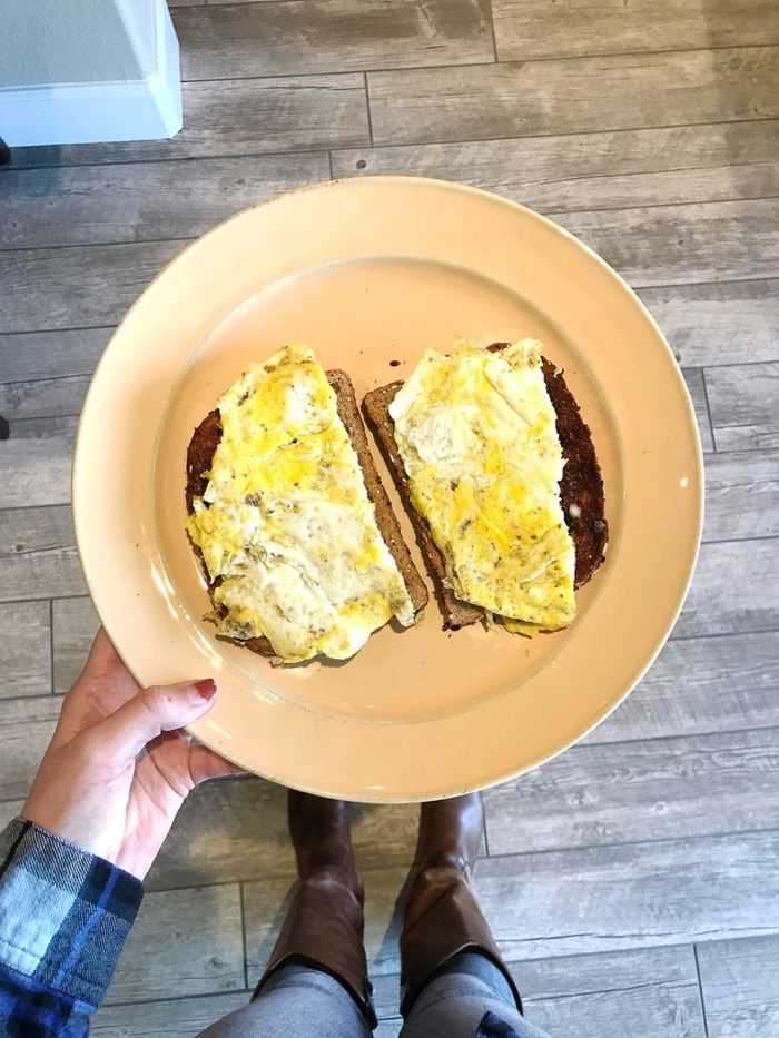 Eggs on Sourdough Toast with Salt and Pepper Hit the Spot for the a Quick Lunch.