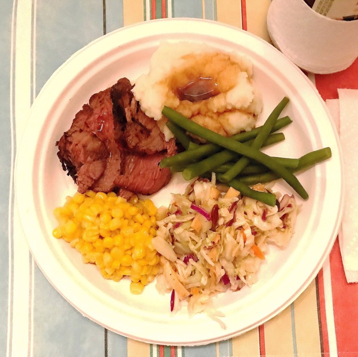 BBQ Tri-Tip with Sides of Corn, Sesame Coleslaw, Green Beans and Mashed Potatoes