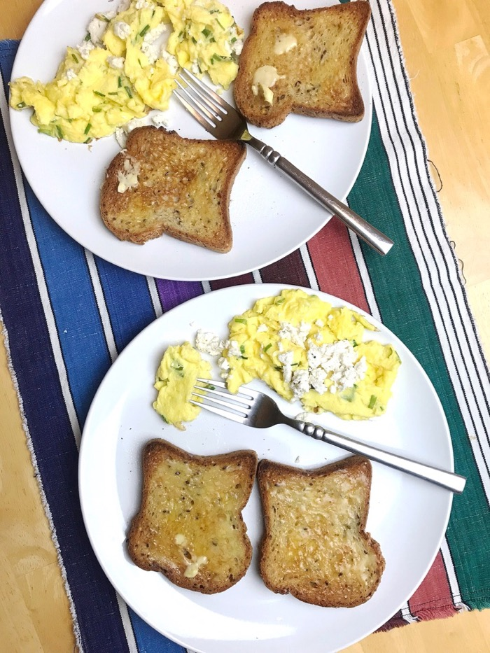 Scrambled Eggs with Chives and Topped with Kite Hill Chive Cheese
