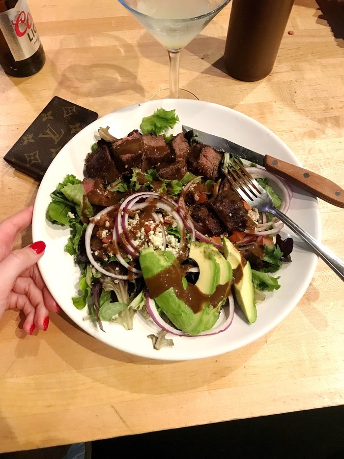 Steak Salad With Balsamic And Topped With Avocado And Red Onion. Mmm! All of it was so good.