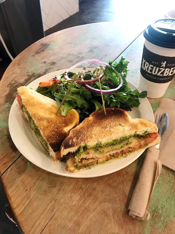 Large Black Coffee And A DELISH Turkey + Pesto Sandwich From Kreuzberg in SLO, CA