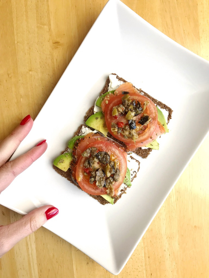 Mid-Day Snack: GG Crackers, Salmon, Cream Cheese, Tomato, Olive Tapenade and Avocado.