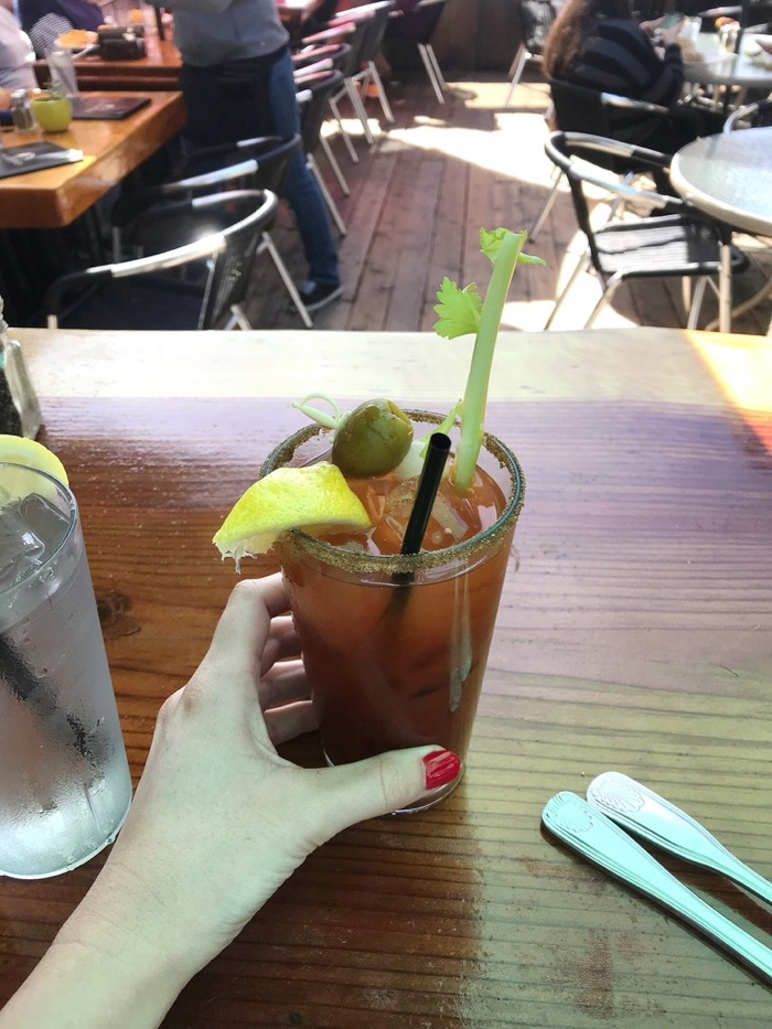 Bloody Mary Right on the Water at Schooner's in Morro Bay, CA.