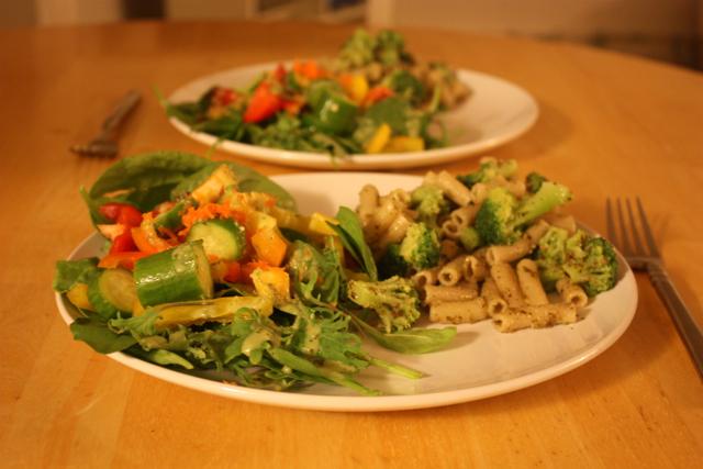 gluten free pesto pasta and salad