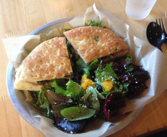 Toasted Chicken Sandwich and Side Salad From Urbane Cafe in San Luis Obispo, CA