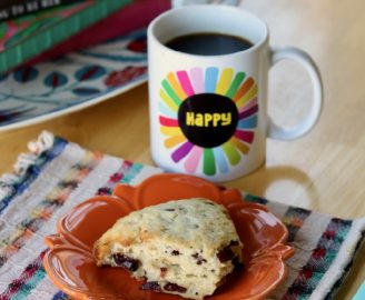 Dreamy Morning Scene: Quiet Time, Black Coffee, and a White Chocolate Cranberry Scone