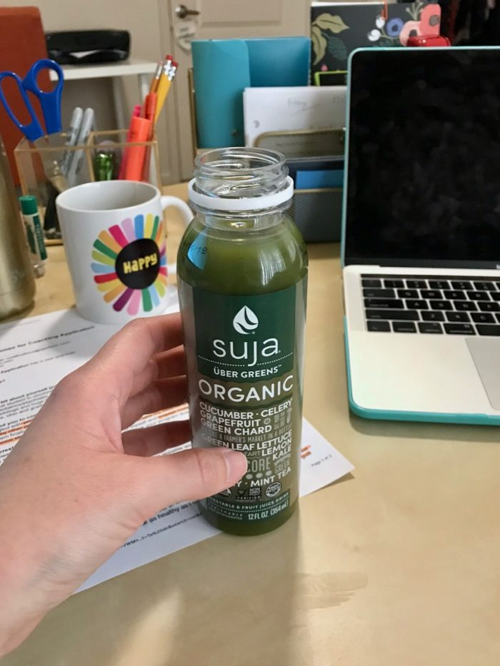 Refreshing work-day liquids: Water, Peppermint Tea, Ginger Tea, and Uber Greens Suja juice