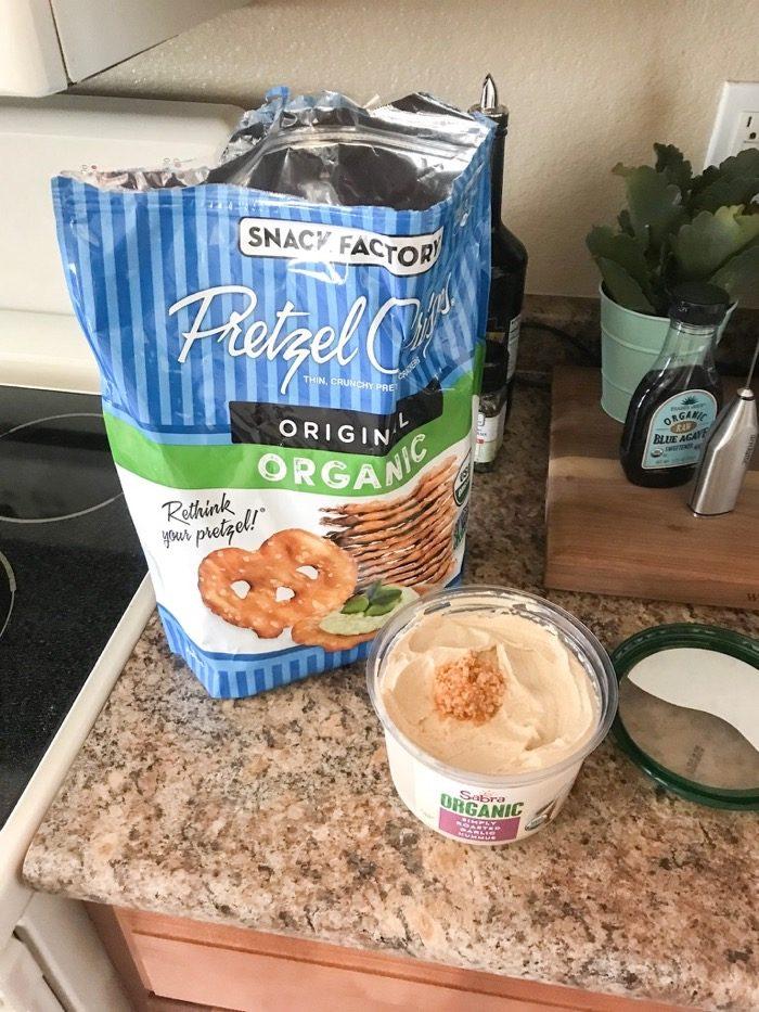 pretzel thins and hummus