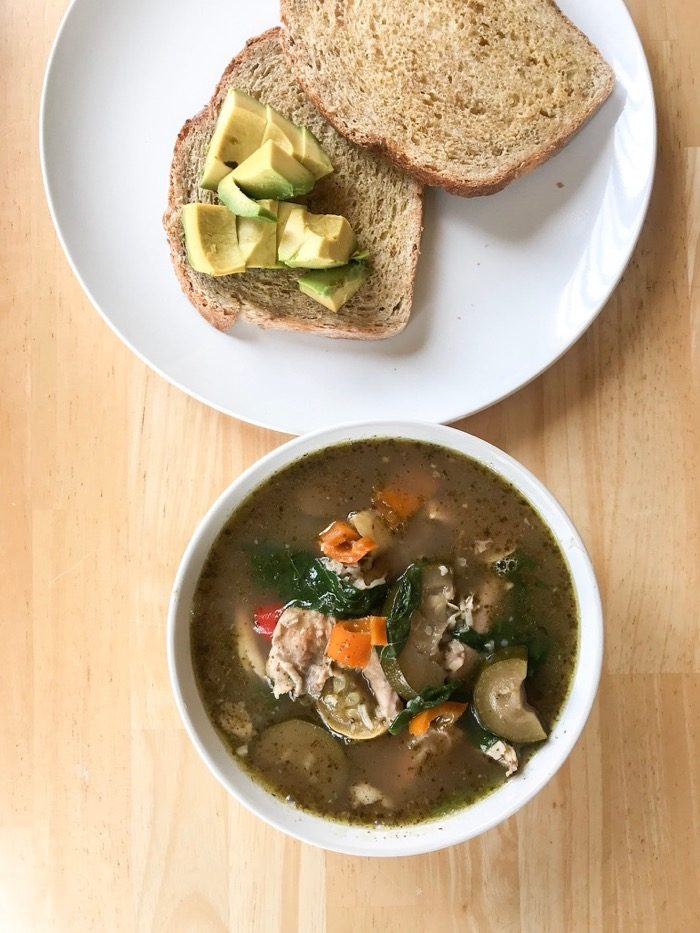 soup with garlic toast