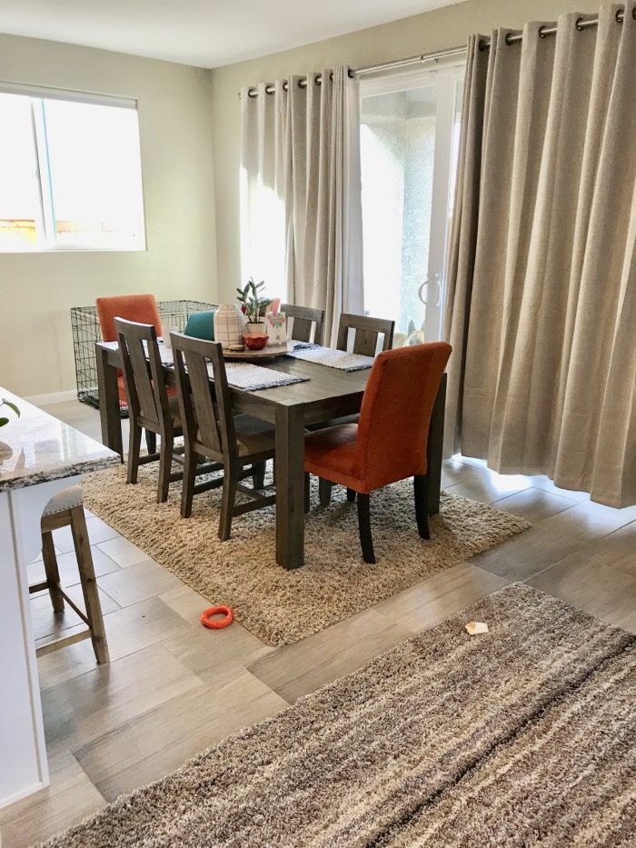 Here's the view of our dining area. I wanted our new home in Reno, Nevada to feel warm, clean, and inviting. I feel like we accomplished that!