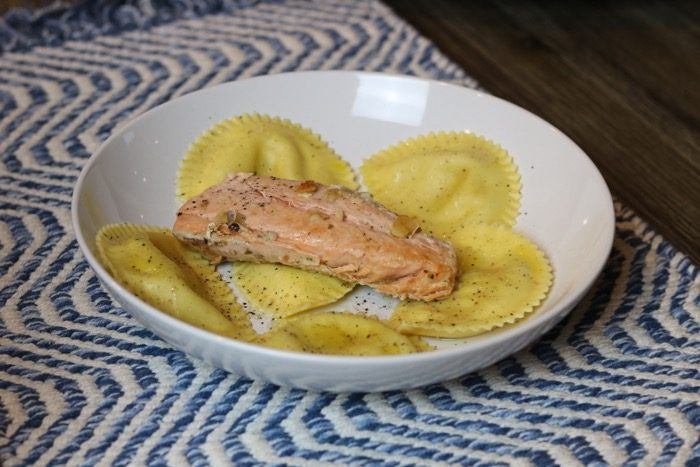 Trader Joe's Butternut Squash Raviolis with Salmon