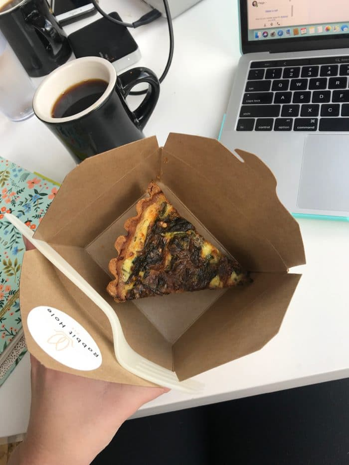 Meat Quiche and Black Coffee For Breakfast From Hub Coffee Roasters in Reno, Nevada. The Perfect Start to the Day on a Snowy Morning.