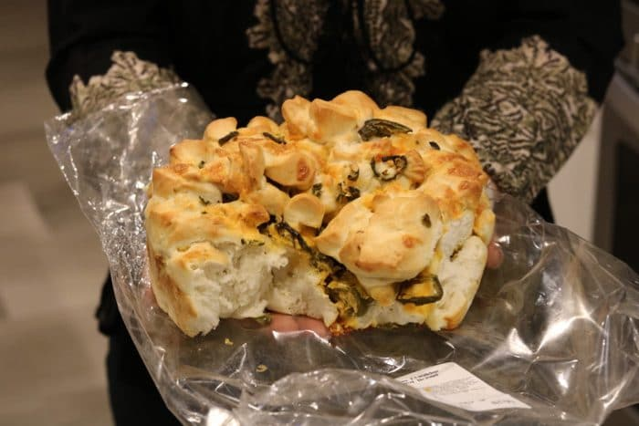 Sprouts' Cheesey Jalapeño bread to Snack on While we Cooked a new Recipe From the Healthyish Cookbook.