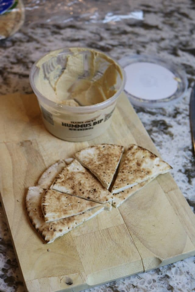Energizing Afternoon Snack of Warm, Sliced Pita Bread With Trader Joe's Hummus Dip.