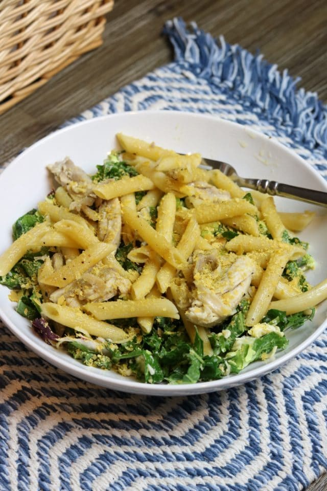 Kale Salad Topped With Penne Noodles, Chicken Thighs, Minced/Fresh Parsley and Nutritional Yeast.