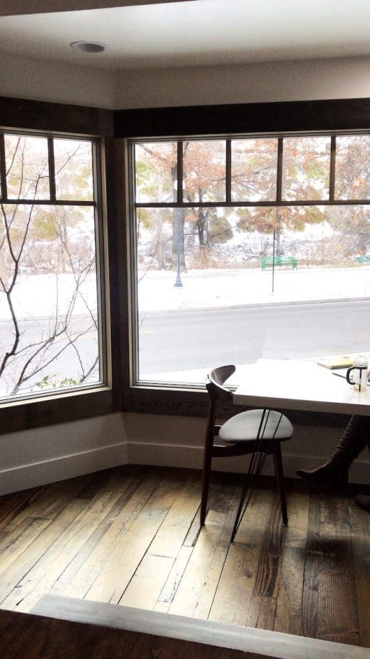 Our cozy view from Hub Coffee Roasters in Reno, Nevada.