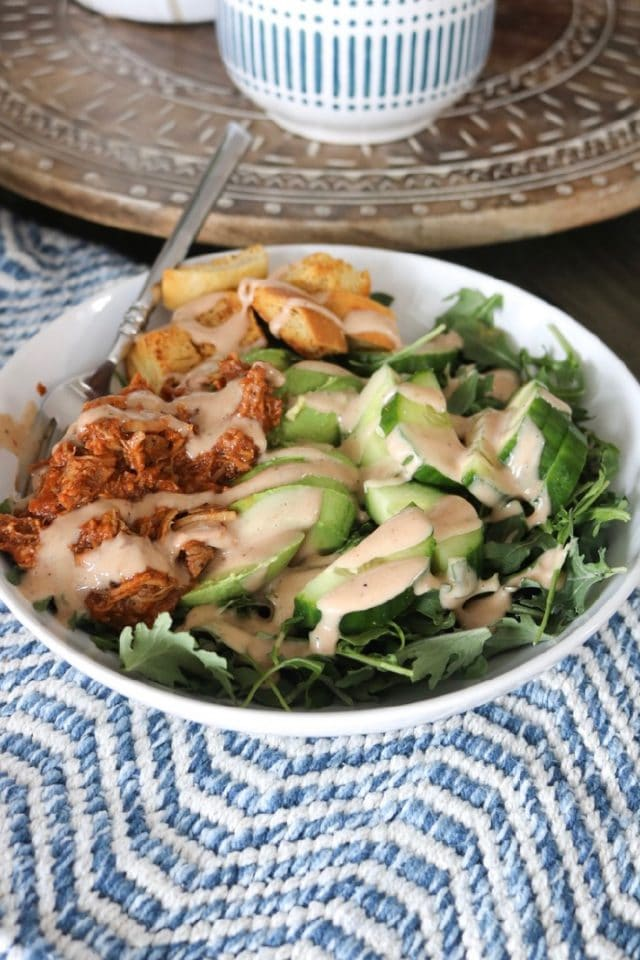 Daily Eats   Pulled Pork BBQ Ranch Salad for Lunch. Made with Trader Joe's pre-made pulled pork, avocado, croutons, and cucumber slices.