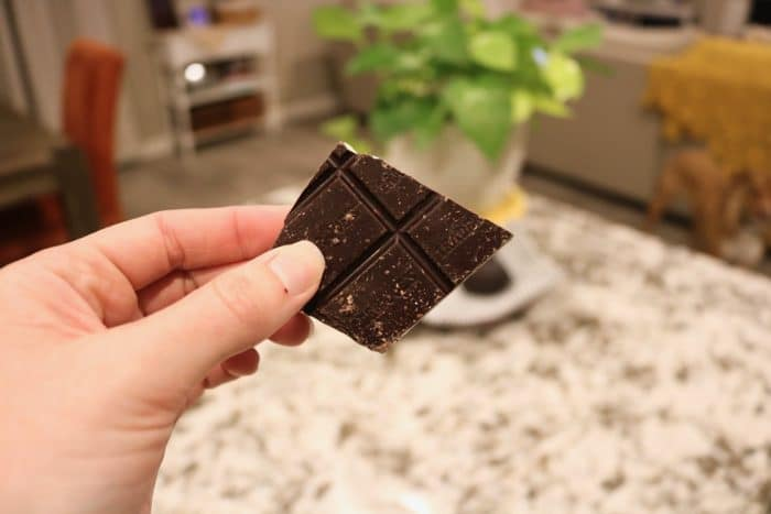 Daily Eats   Trader Joe's dark chocolate squares while I enjoyed cooking dinner from the Healthyish cookbook.