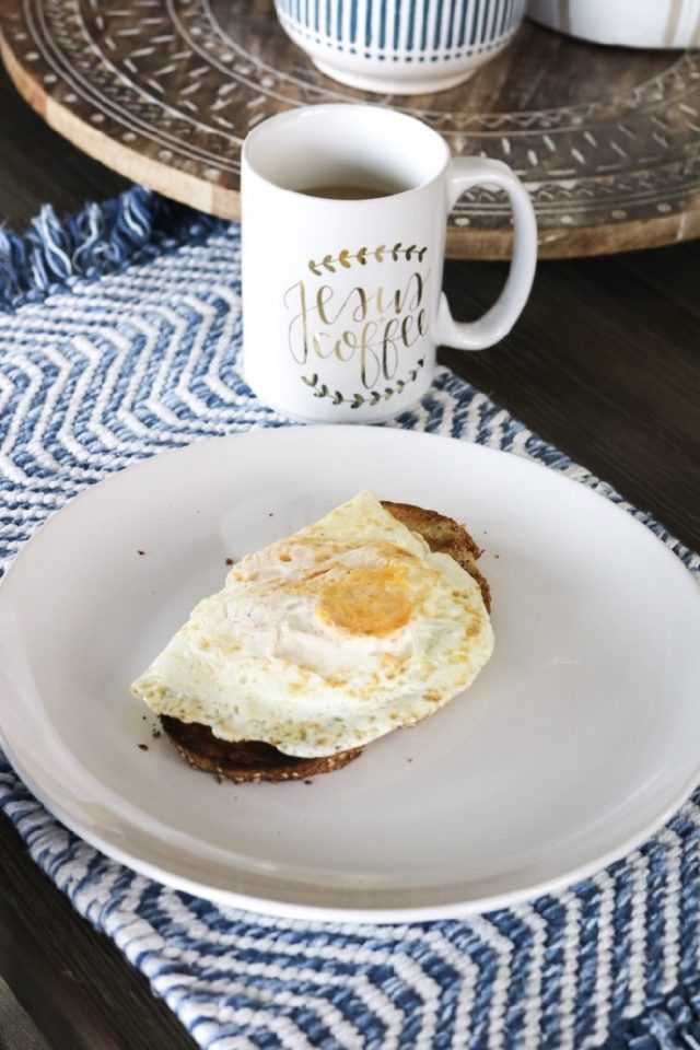 Simple breakfast idea: Eggs on a slice of Trader Joe's seeded sourdough toasted.