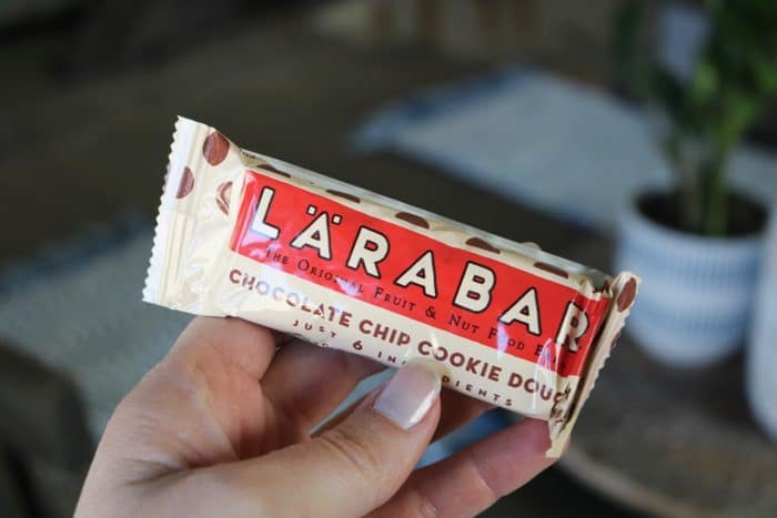 Chocolate chip cookie dough Larabar as a pre-workout snack