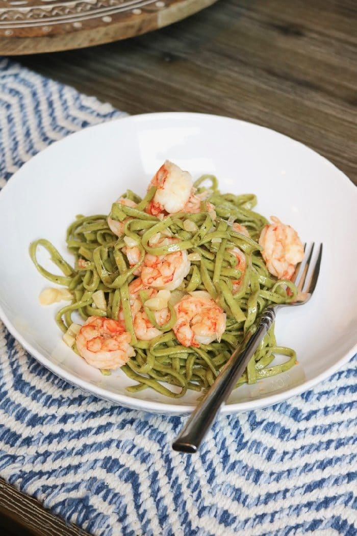Easy, delicious dinner Trader Joe's dinner. Spinach and chive linguine with shrimp. Seasoned with sea-salt and that's it.