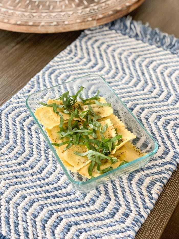 Daily Eats | Trader Joe's arugula raviolis with fresh chives.