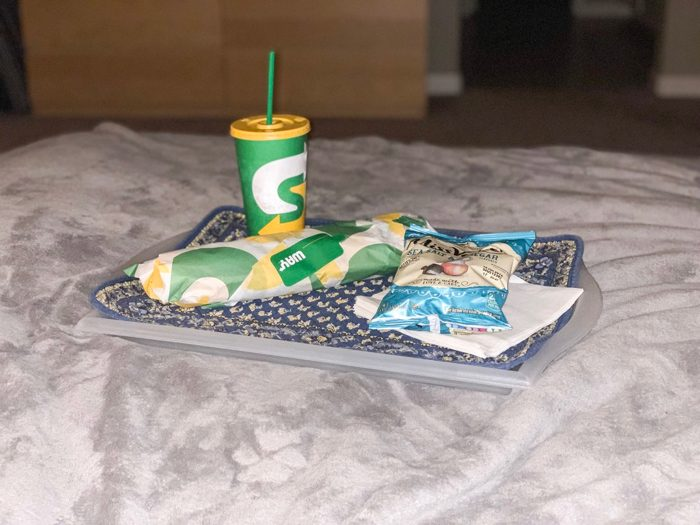 Daily Eats | Subway's Italian bread with mayo, turkey, cheese, lettuce and tomato with diet coke and Miss Vickie's chips on the side. We ate in bed. IDEAL Saturday night dinner.
