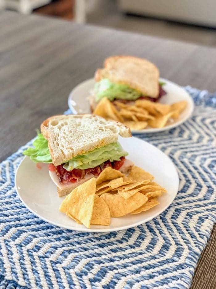Turkey club sandwich on sourdough to share with my husband, with chips on the side. Yum! It's feeling like sandwich season over here!