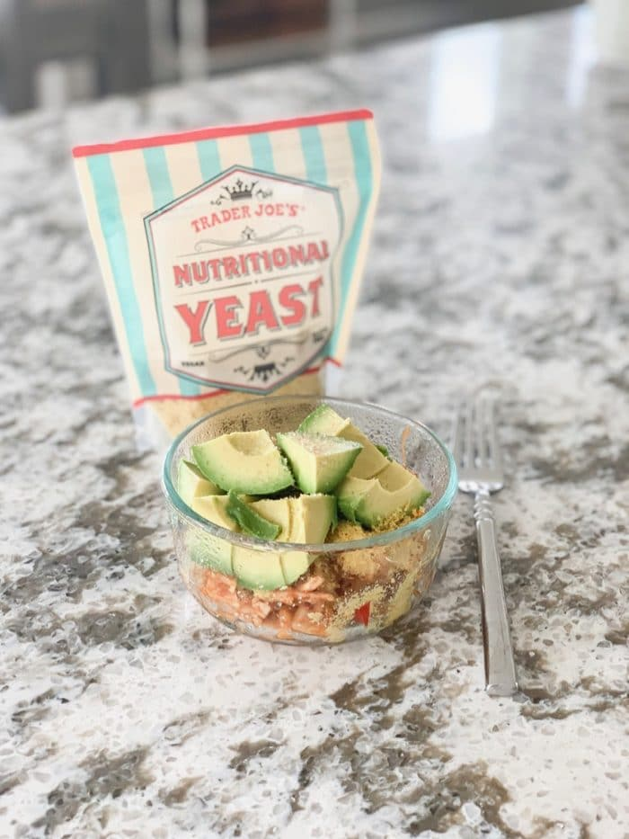 Daily Eats | Brown rice pasta with topped with Trader Joe's nutritional yeast and avocado