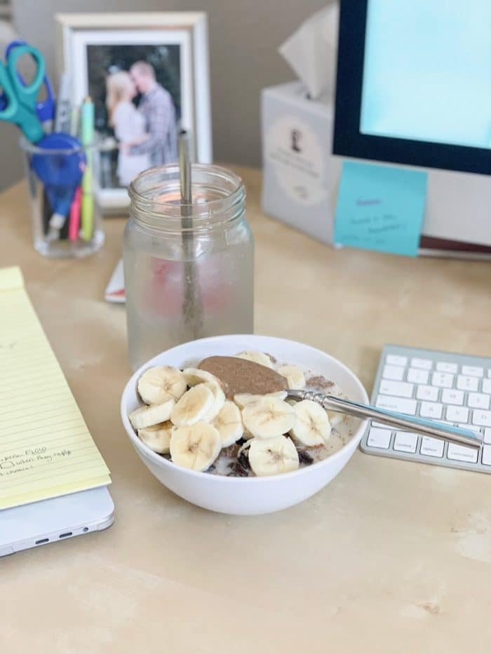 "Daily Eats | Monday was TJ's bran flakes (yum, favorite cereal, or ""toasted oatmeal flakes""!) with raisins, banana, almond butter (it's so good!), and ground flaxseed. Yeaaaah, fiber!"