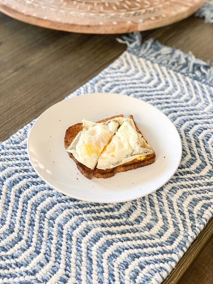 DAily Eats | A quick, simple breakfast of one slice of Ezekiel toast with an egg over-medium.